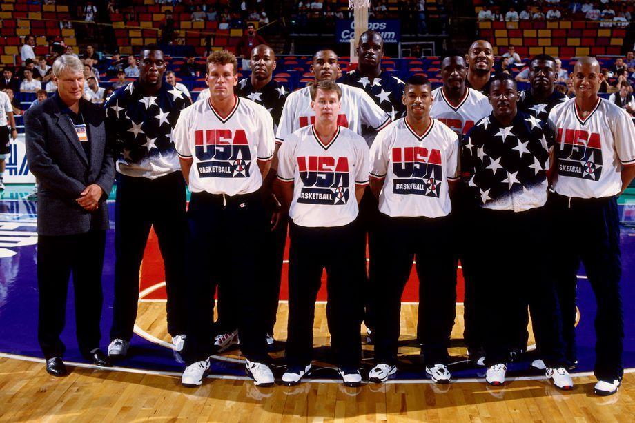Team USA, vainqueur du championnat du Monde de basketball en 1994 à Toronto (Canada).